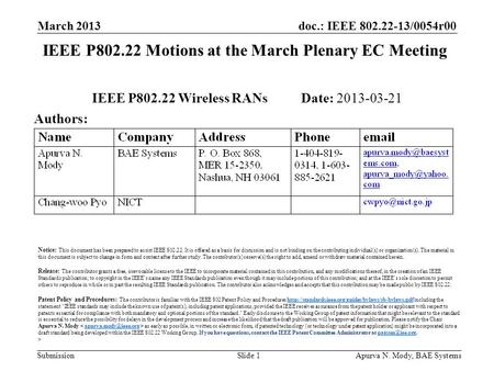 Doc.: IEEE 802.22-13/0054r00 Submission March 2013 Apurva N. Mody, BAE SystemsSlide 1 IEEE P802.22 Motions at the March Plenary EC Meeting IEEE P802.22.