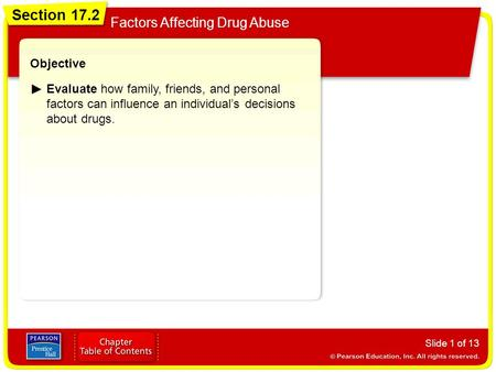 Section 17.2 Factors Affecting Drug Abuse Slide 1 of 13 Objective Evaluate how family, friends, and personal factors can influence an individual's decisions.