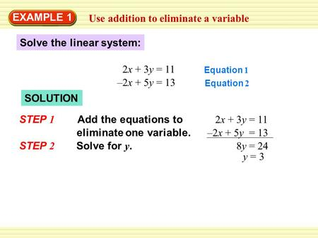 Use addition to eliminate a variable EXAMPLE 1 Solve the linear system: 2x + 3y = 11 –2x + 5y = 13 Equation 1 Equation 2 SOLUTION Add the equations to.