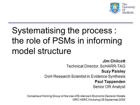 Systematising the process : the role of PSMs in informing model structure Jim Chilcott Technical Director, ScHARR-TAG Suzy Paisley DoH Research Scientist.