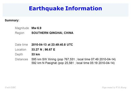 Earthquake Information Page created by W. G. HuangCredit EMSC Summary: MagnitudeMw 6.9 RegionSOUTHERN QINGHAI, CHINA Date time2010-04-13 at 23:49:40.8.