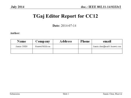 Doc.: IEEE 802.11-14/0333r2 Submission July 2014 TGaj Editor Report for CC12 Jiamin Chen, HuaweiSlide 1 Date: 2014-07-14 Author: