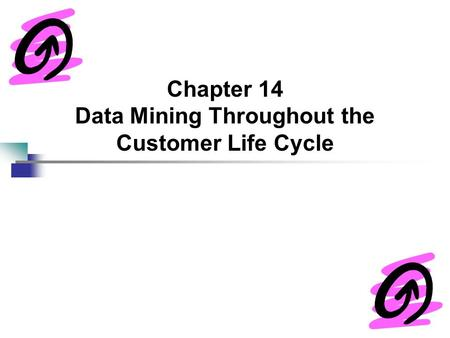 Chapter 14 Data Mining Throughout the Customer Life Cycle.
