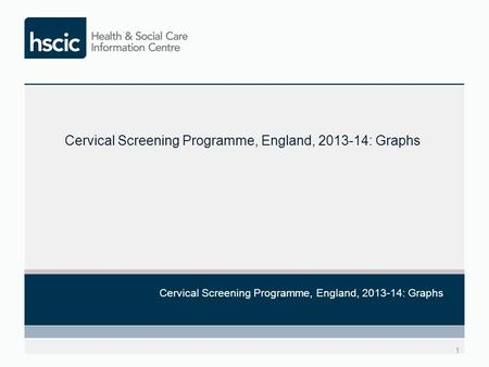 1 Cervical Screening Programme, England, 2013-14: Graphs.