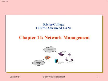1 1/15/2015 16:37 Chapter 14Network Management1 Rivier College CS575: Advanced LANs Chapter 14: Network Management.