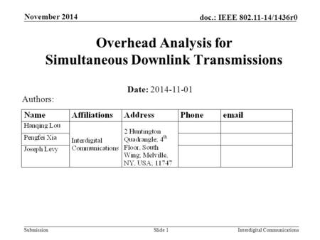 Submission doc.: IEEE 802.11-14/1436r0 November 2014 Interdigital CommunicationsSlide 1 Overhead Analysis for Simultaneous Downlink Transmissions Date: