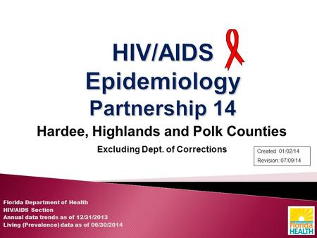 Hardee, Highlands and Polk Counties Excluding Dept. of Corrections Florida Department of Health HIV/AIDS Section Annual data trends as of 12/31/2013 Living.