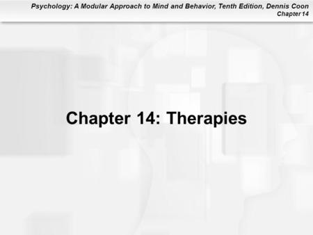 Chapter 14: Therapies.