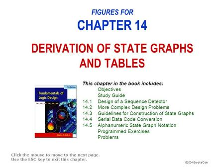 ©2004 Brooks/Cole FIGURES FOR CHAPTER 14 DERIVATION OF STATE GRAPHS AND TABLES Click the mouse to move to the next page. Use the ESC key to exit this chapter.