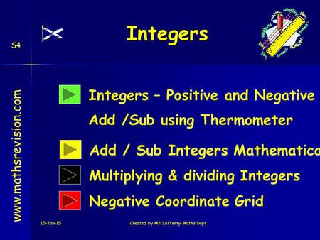 15-Jan-15Created by Mr. Lafferty Maths Dept Integers – Positive and Negative Add /Sub using Thermometer Integers www.mathsrevision.com Add / Sub Integers.
