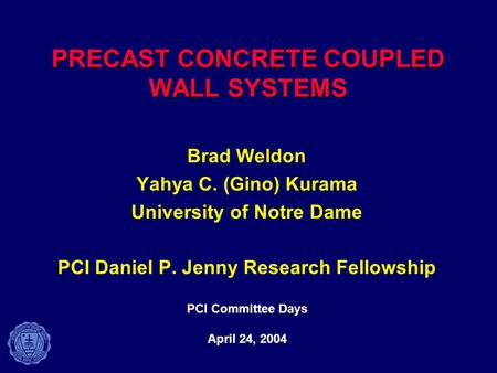 PRECAST CONCRETE COUPLED WALL SYSTEMS