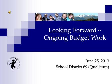June 25, 2013 School District 69 (Qualicum) Looking Forward ~ Ongoing Budget Work.