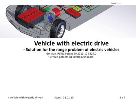 «Vehicle with electric drive»1 / 7Stand: 02.01.15 InvenComm Vehicle with electric drive - Solution for the range problem of electric vehicles German Utility.