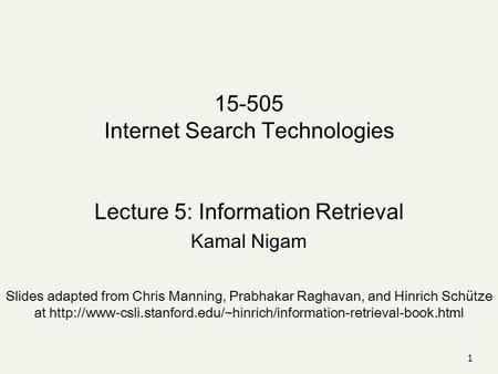 Internet Search Technologies