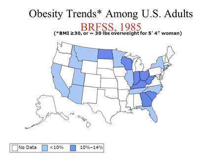 "Obesity Trends* Among U.S. Adults BRFSS, 1985 No Data <10% 10%–14% (*BMI ≥30, or ~ 30 lbs overweight for 5' 4"" woman)"
