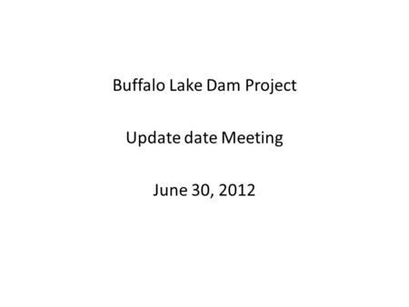 Buffalo Lake Dam Project Update date Meeting June 30, 2012.