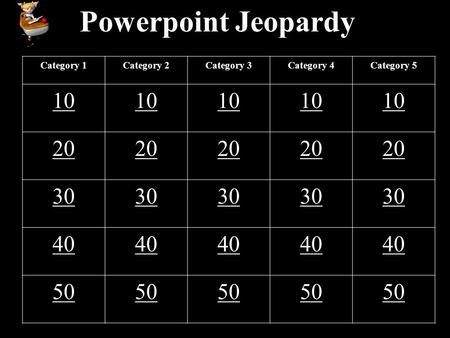 Powerpoint Jeopardy Category 1Category 2Category 3Category 4Category 5 10 20 30 40 50.