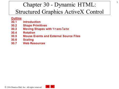  2004 Prentice Hall, Inc. All rights reserved. 1 Chapter 30 - Dynamic HTML: Structured Graphics ActiveX Control Outline 30.1Introduction 30.2Shape Primitives.