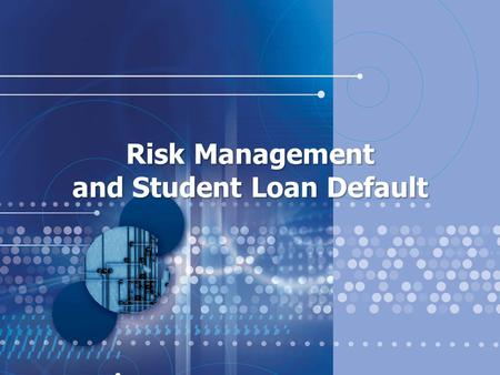 "Risk Management and Student Loan Default. What is a Cohort Default Rate (CDR)? A ""cohort"" is a group of Stafford Loan Borrowers who entered repayment."