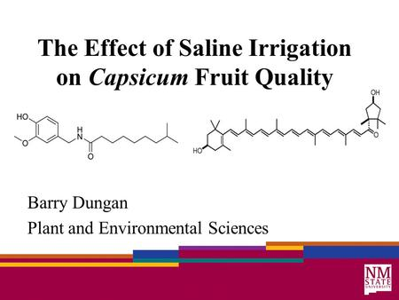 The Effect of Saline Irrigation on Capsicum Fruit Quality Barry Dungan Plant and Environmental Sciences.