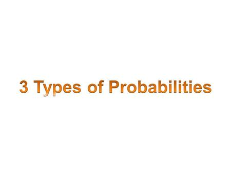 3 Types of Probabilities