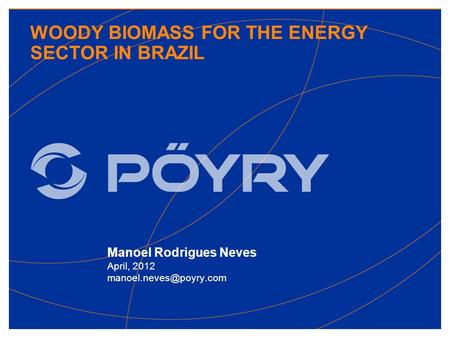 WOODY BIOMASS FOR THE ENERGY SECTOR IN BRAZIL Manoel Rodrigues Neves April, 2012