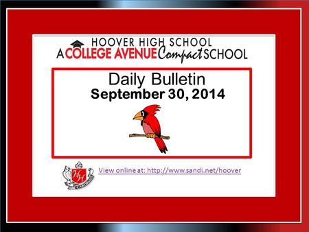 View online at:  Daily Bulletin September 30, 2014.