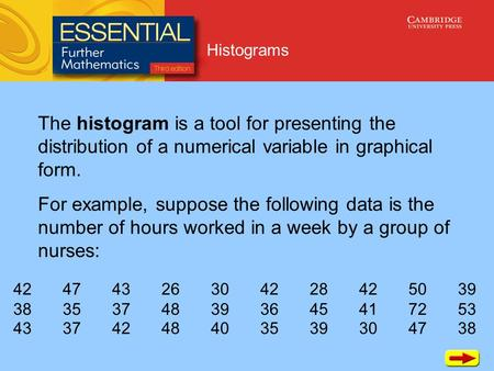 Histograms The histogram is a tool for presenting the distribution of a numerical variable in graphical form. For example, suppose the following data is.
