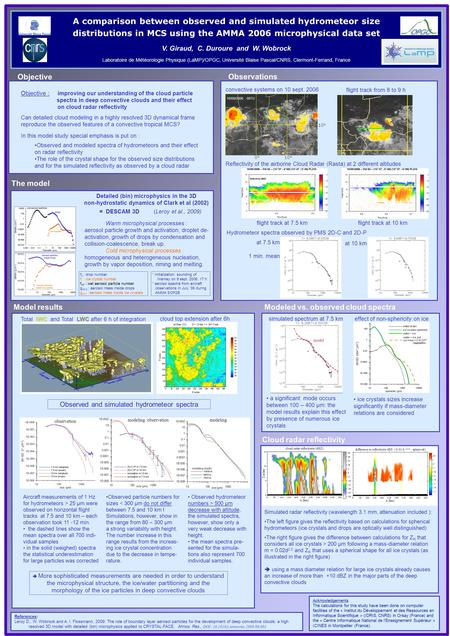 A comparison between observed and simulated hydrometeor size distributions in MCS using the AMMA 2006 microphysical data set V. Giraud, C. Duroure and.