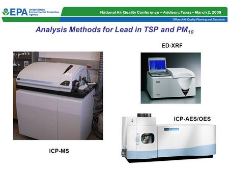 National Air Quality Conference -- Addison, Texas – March 2, 2009 1 Analysis Methods for Lead in TSP and PM 10 ICP-MS ICP-AES/OES ED-XRF.