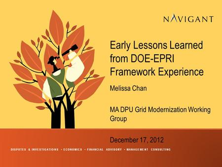 DISPUTES & INVESTIGATIONS ECONOMICS FINANCIAL ADVISORY MANAGEMENT CONSULTING Early Lessons Learned from DOE-EPRI Framework Experience Melissa Chan MA DPU.