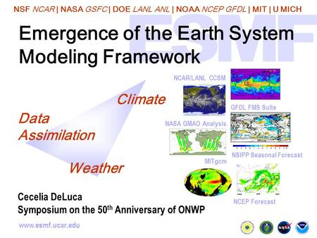 NSF NCAR | NASA GSFC | DOE LANL ANL | NOAA NCEP GFDL | MIT | U MICH www.esmf.ucar.edu Emergence of the Earth System Modeling Framework NSIPP Seasonal Forecast.