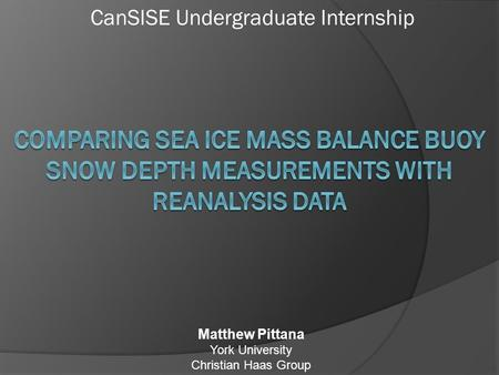 CanSISE Undergraduate Internship Matthew Pittana York University Christian Haas Group.
