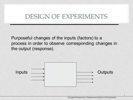 DESIGN OF EXPERIMENTS Purposeful changes of the inputs (factors) to a process in order to observe corresponding changes in the output (response). Process.
