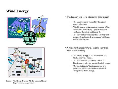 Wind Energy Wind energy is a form of indirect solar energy