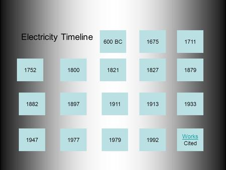 1827 1882 19471992 1752 1977 1711 187918211800 1897 1979 1911 1675 19131933 Electricity Timeline Works Cited 600 BC.