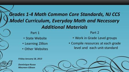 Grades 1-4 Math Common Core Standards, NJ CCS Model Curriculum, Everyday Math and Necessary Additional Materials Part 1 State Website Learning Zillion.