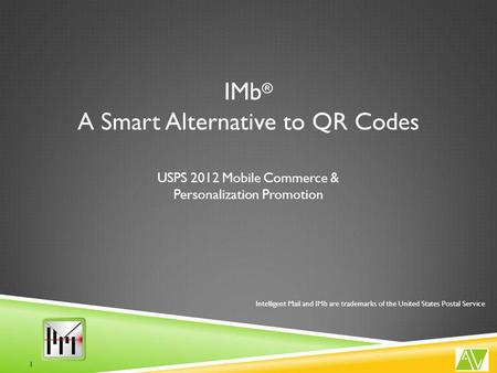 USPS 2012 Mobile Commerce & Personalization Promotion 1 IMb ® A Smart Alternative to QR Codes Intelligent Mail and IMb are trademarks of the United States.