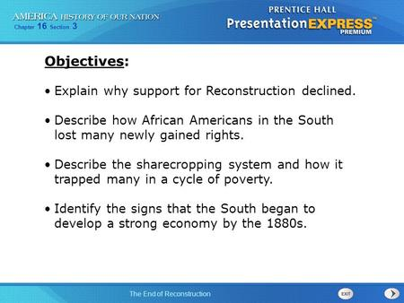 Objectives: Explain why support for Reconstruction declined.
