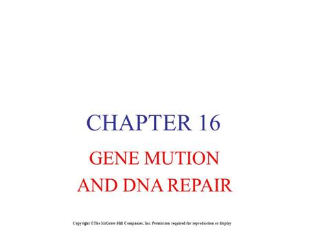 Copyright ©The McGraw-Hill Companies, Inc. Permission required for reproduction or display CHAPTER 16 GENE MUTION AND DNA REPAIR.