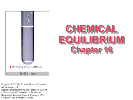CHEMICAL EQUILIBRIUM Chapter 16