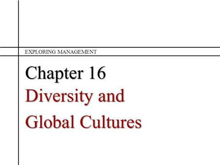 Chapter 16 Diversity and Global Cultures EXPLORING MANAGEMENT.