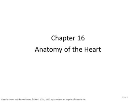 Elsevier items and derived items © 2007, 2003, 2000 by Saunders, an imprint of Elsevier Inc. Slide 1 Chapter 16 Anatomy of the Heart.