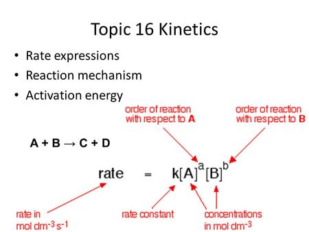 Topic 16 Kinetics Rate expressions Reaction mechanism