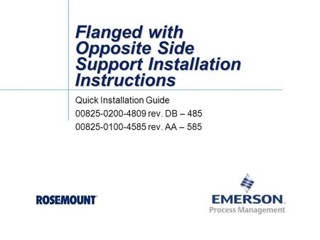 Flanged with Opposite Side Support Installation Instructions