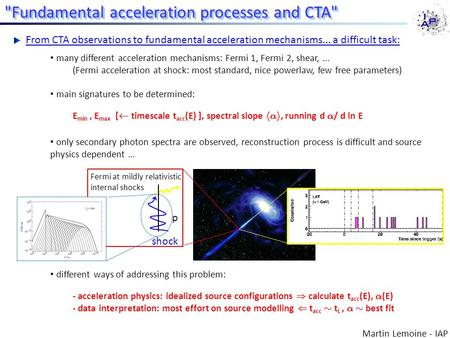 Many different acceleration mechanisms: Fermi 1, Fermi 2, shear,... (Fermi acceleration at shock: most standard, nice powerlaw, few free parameters) main.