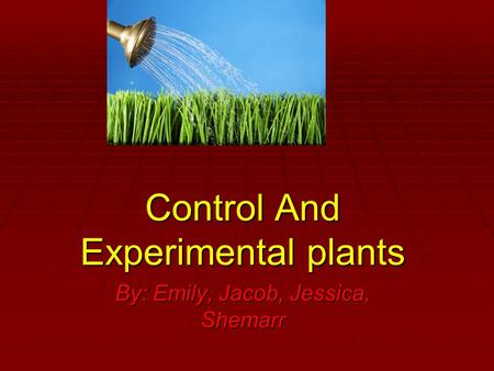 Control And Experimental plants By: Emily, Jacob, Jessica, Shemarr.
