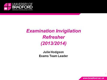 1 Examination Invigilation Refresher (2013/2014) Julie Hodgson Exams Team Leader.