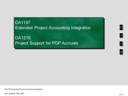 1 of 16 DA1197 Extended Project Accounting Integration Last updated: May 2004 DA1197 Extended Project Accounting Integration DA1218 Project Support for.