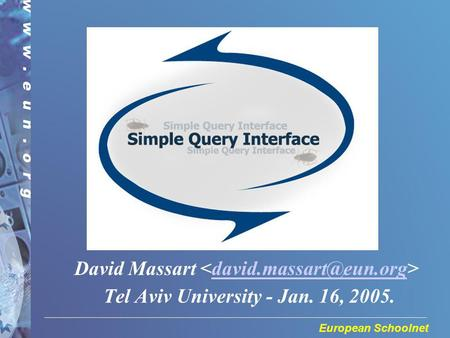 European Schoolnet David Massart Tel Aviv University - Jan. 16, 2005.